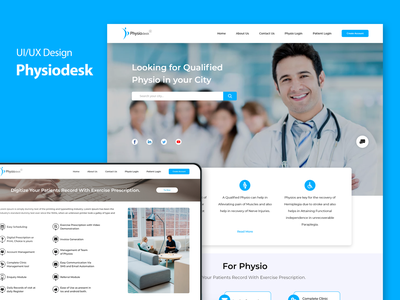 Physiodesk | UI/UX Design & Development photoshop adobe xd