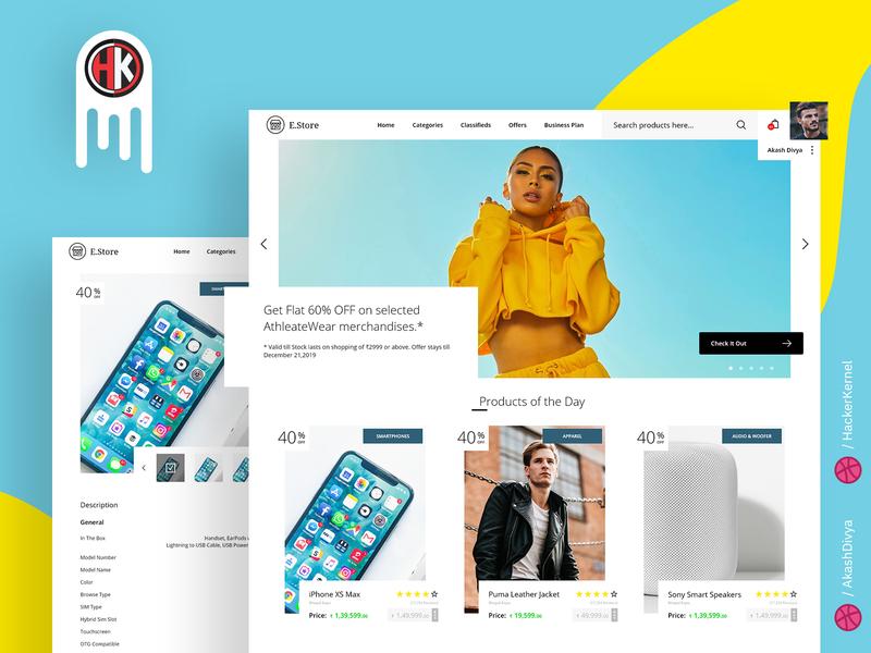 E-Store - a Modern  E-Commerce  Website Design design ecommerce website ui  ux adobe xd