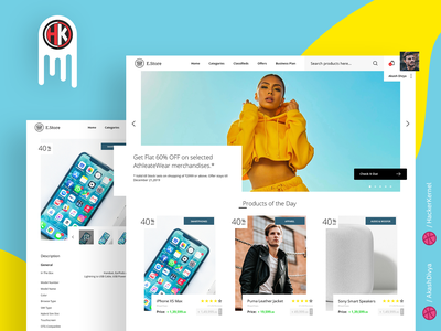 E-Store - a Modern  E-Commerce  Website Design design ecommerce website ui  ux adobe xd