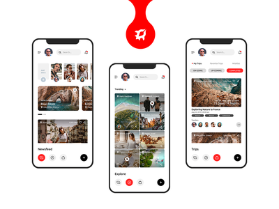 Travel social networking mobile application adobe xd travel app travel minimal design app minimal social networking app