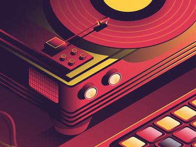 Redly Music player black illustration yellow vinyl red music