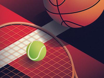 Sport Within inspiration illustration orange green red football basketball tennis sport