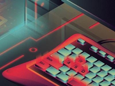 Gamer's Neonisation orange neon green red cybernetic keyboard pc setup neon gaming