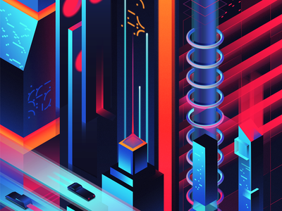 The City Beyond bright illustration utopia colors future neon city