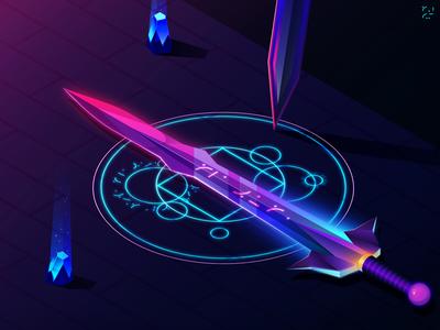 The Aziroth bright sacred legend illustration colour sword
