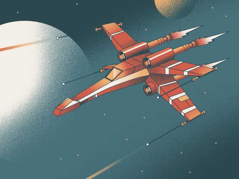 X Wing Dribbble x-wing star wars vector design colorful illustration