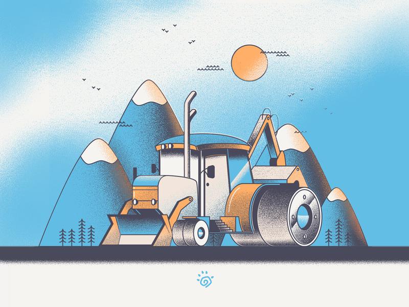 Excavator blue excavator vector art bright colorful illustration