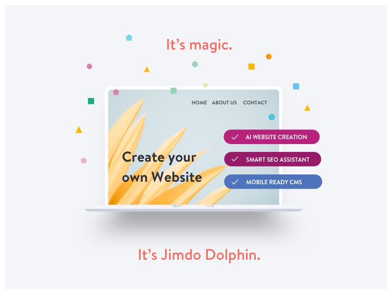 Jimdo Dolphin Ad advertising jimdo creation confetti website