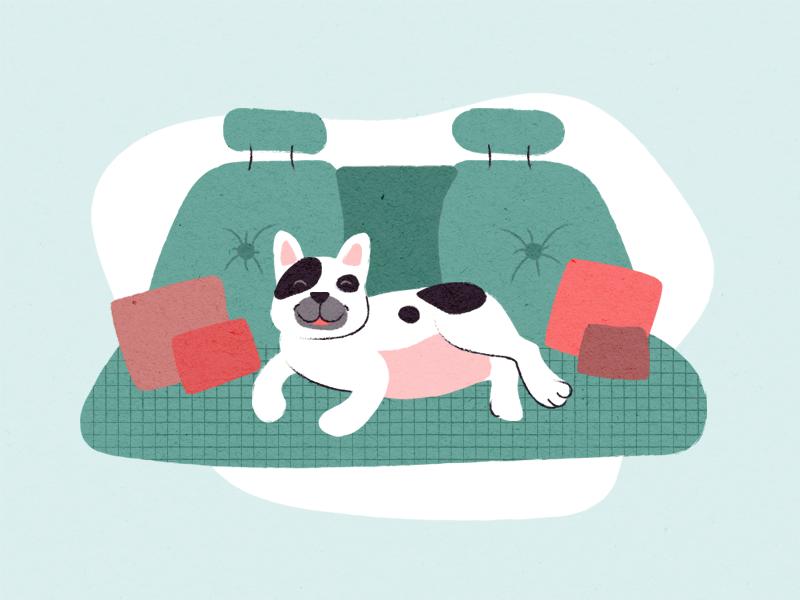 Rest in the car travel texture french bulldog inside car illustration happy rest drive dog car pug animal