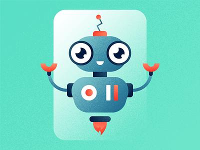 Robo Advisor helper texture character vector illustration gradient noise happy cute automatic machine robot