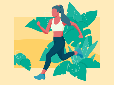 Morning Jogging speed fitness morning sport lifestyle healthy jogging woman illustration girl running run