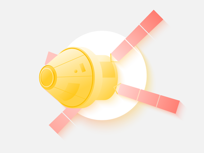 Unmanned spacecraft wireless unmanned technology light illustration icon gradient weightlessness fly space spacecraft aerial