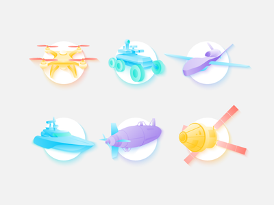 Unmanned Vehicle Icon Set drone surface underwater wireless unmanned technology spacecraft light illustration icon set gradient aerial