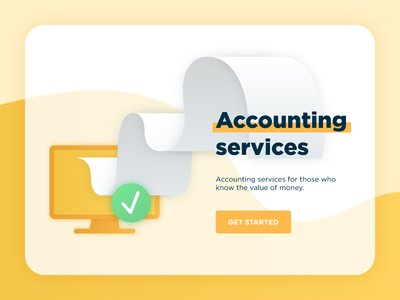 Accounting Services work site home page first screen illustration gradient poster document computer banner accounting services 1c
