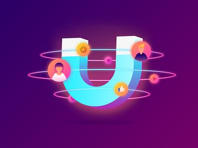 Customer Retention Illustration web customer like planet neon marketing customer retention magnet light minimal gradient illustration