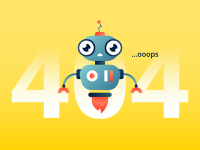 404 Illustration error page breaking character disappointment automatic error robot robo advisor 404 web gradient illustration
