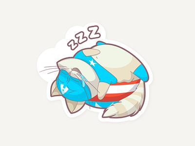 Captain America Cat hero cartoon character shield zzz superhero sticker nap sleep marvel cat captain america