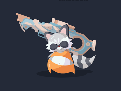Rocket Raccoon Illustration gun animal weapon rocket raccoon rocket guardians of the galaxy guardian raccoon galaxy charachter vector illustration