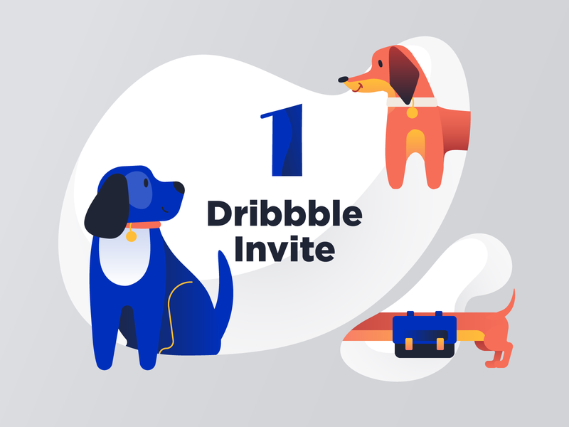 Dribbble Invite Giveaway paw pet pets minimal join dribbble vector gradient invitation draft dachshund dog illustraion giveaway invite dribbble invite giveaway