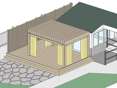 Backporch house render patio