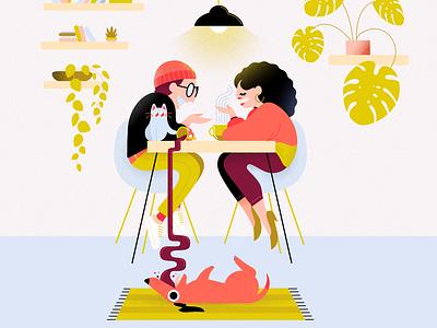 Coffee Date vector minimal colorful affinitydesigner 2d art flat pastels design illustration