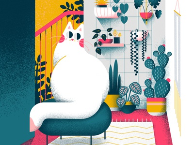 Home office cat colorful cute vector affinitydesigner art flat pastels design illustration