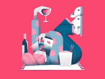 Social life during lockdown lockdown netflix minimal vector 2d affinitydesigner art flat pastels design illustration