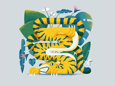 Our planet week 2021 / prompt 1 - protect digital art character design illustrator character animals animal plants planet jungle tiger minimal vector colorful 2d affinitydesigner art flat pastels design illustration