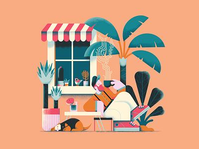 Album cover illustration 2d art 2d character vector art plants coffee chilling chill cute minimal affinitydesigner 2d colorful vector art pastels flat illustration design