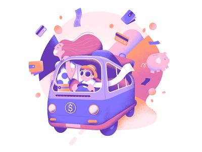 Business roadtrip trip van money vector illustration illustrator designer vector art vectorart minimal affinitydesigner 2d colorful vector art pastels flat illustration design