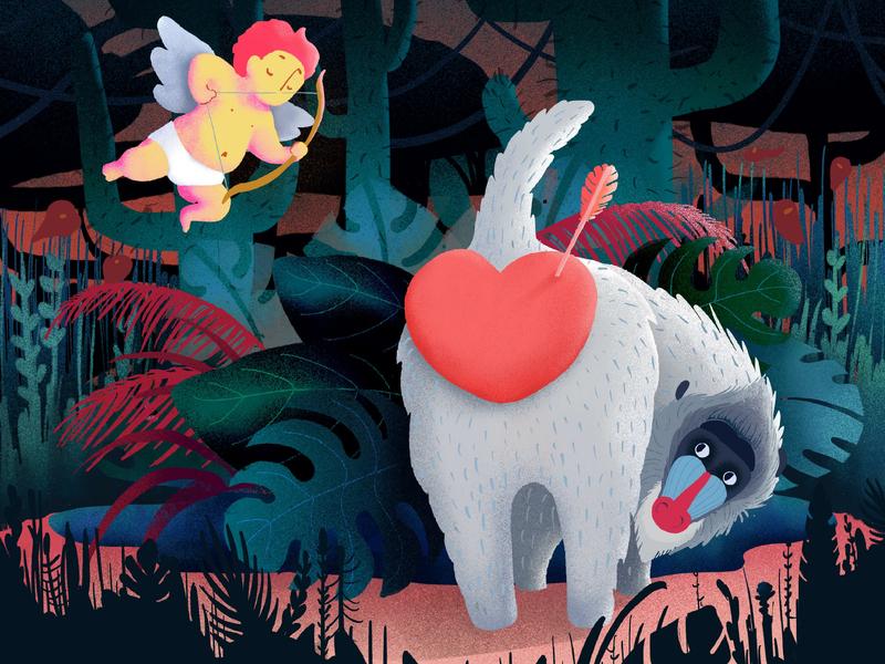 Love fail ipad procreate app colorful plants leaves heart cupid jungle mandrill art design pastels cute illustration