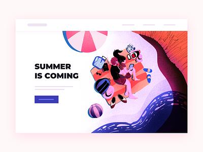 Summer Vibes summer procreateapp ui minimal colorful cute 2d flat art pastels design illustration