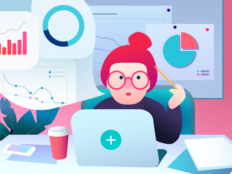 Analyst job ad illustration for Mito character cute minimal vector 2d colorful affinitydesigner art flat pastels design illustration