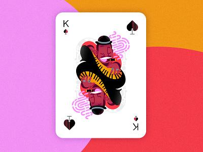 Jazz player cards - King of spades vector minimal colorful affinitydesigner 2d art flat pastels design illustration