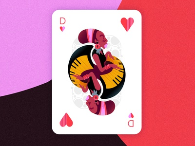 Jazz player cards - Queen of hearts