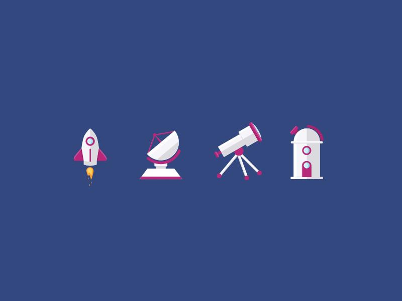 Space Items illustrations jimdo observatory telescope antenna rocket