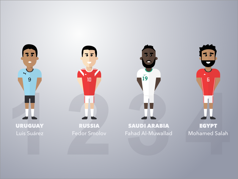 Group A saudi arabia world cup egypt uruguay sports people illustration soccer football avatar russia fifa