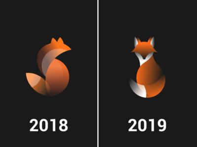 Fox Logo Improvement minimalism circular logo improvements branding animal logo fox