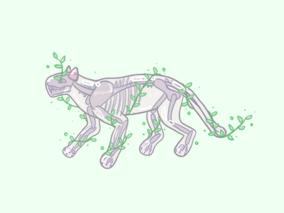 Skeleton & Vines illustration illustration art nature vines bubble animal cat skeleton