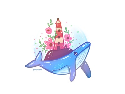 Whale and a Floral Lighthouse lighthouse floral animal illustration island animal marine animal whale