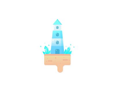Crystal Lighthouse Logo logo design illustration beach sand flatdesign floating island icon logo lighthouse crystal