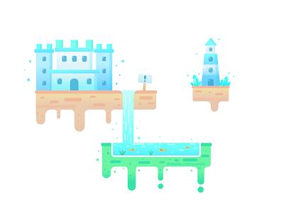 Floating Castle game art pond banner illustration logo floating island island castle