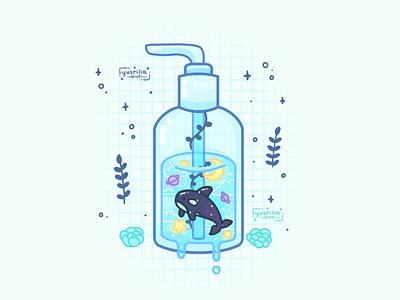 Hand Sanitizer marine animal orca soap aesthetic plants stars moon space ocean