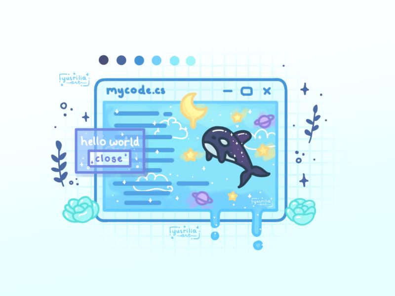 Hello World windows orca aesthetic ocean code programming