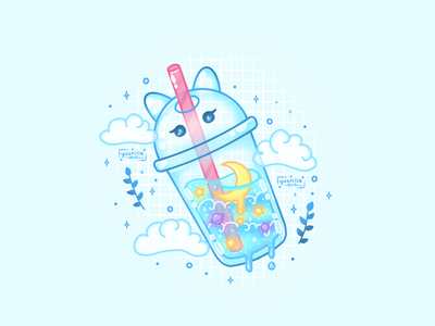 Cat Soda Bottle fast food soda pop planet straw floating clouds moon space cup bottle aesthetic softdrink soda drink cat