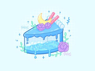 Ocean Cake piece of cake sea food ocean dessert cake