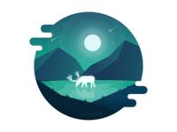Deer and Moonlight