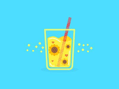 Sunflower Drink logo glass straw summer drink juice sunflower