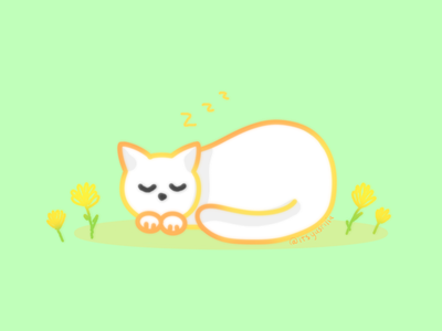 Sleeping Cat flat illustration pet cat sleeping flowers