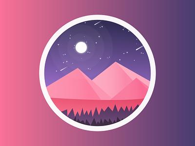 Pink Mountains landscape design illustration art illustrations scenery night moon mountains illustration landscape